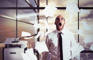 screaming man stressed at work