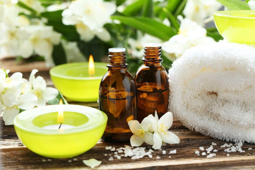 massage spa supplies including essential oils