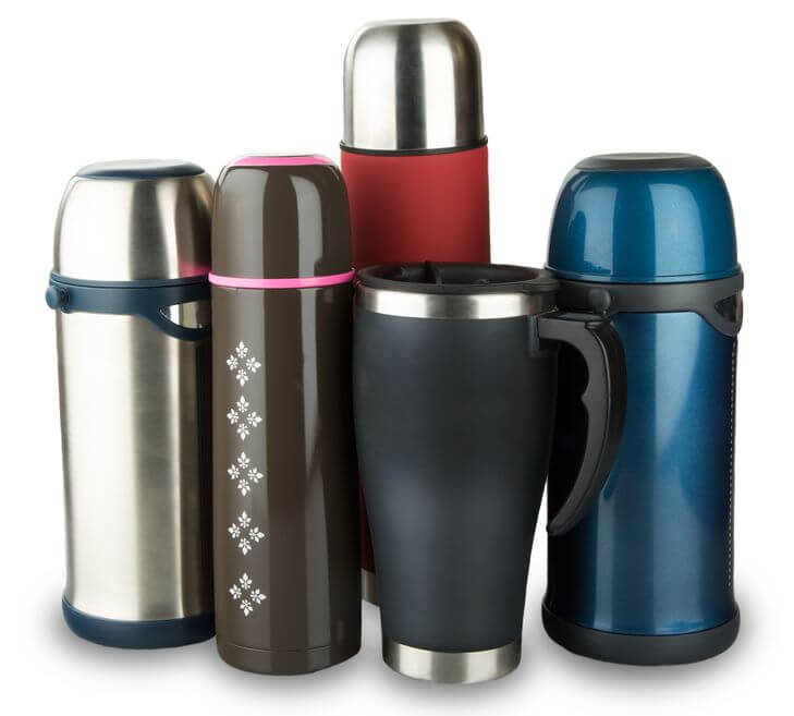 variety of insulated cups and mugs