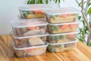 prepped meals in containers