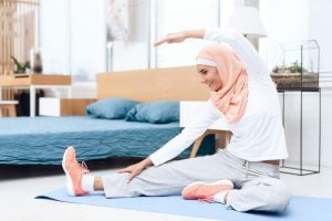 woman doing stretches and exercise